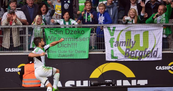 Diego celebrates his goal for Wolfsburg