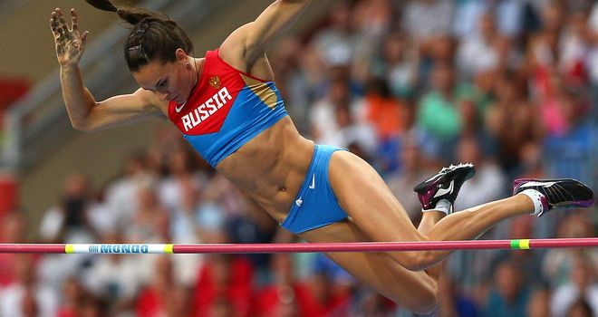 Yelena Isinbayeva en route to victory at the Moscow World Championships earlier this week