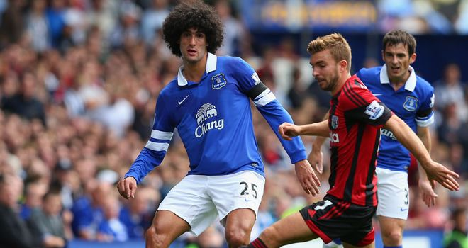 Marouane Fellaini was denied by the post in Everton's draw with West Brom