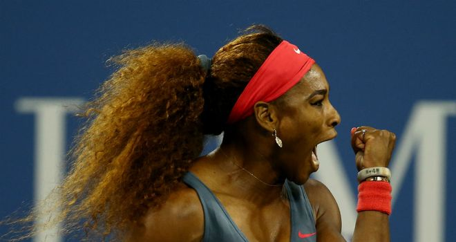Serena Williams celebrates a point during her US Open first-round clash against Francesca Schiavone