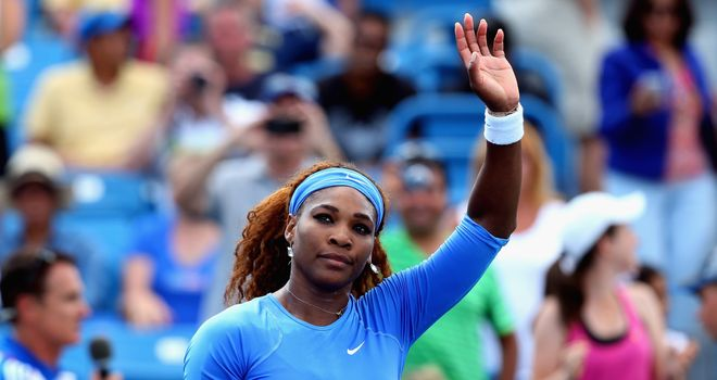 Serena Williams: American won opening set against Simona Halep in 16 minutes