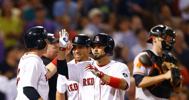 Shane Victorino had two home runs and a career-high seven RBIs for Boston in Tuesday's victory