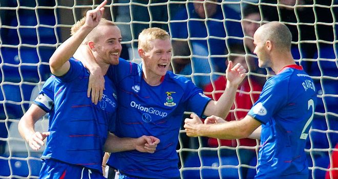 James Vincent (centre) celebrates debut goal against St Mirren