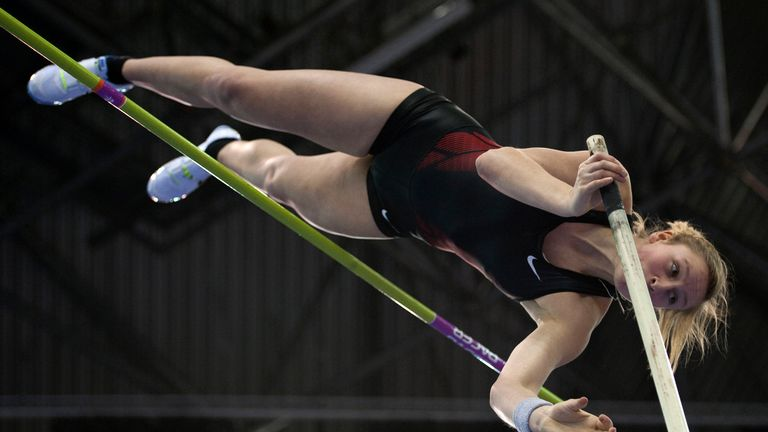Great Britain's Holly Bleasdale competes during the Women's Pole Vault during the Aviva Grand Prix athletics meeting at The National Indoor Arena in Birmingham on February 18, 2012.