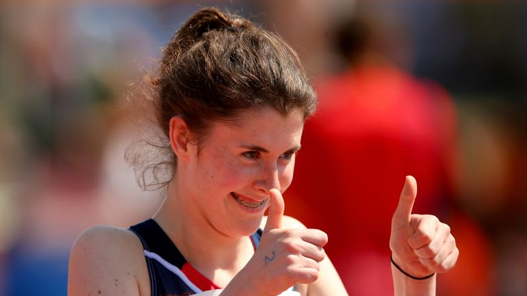 A thumbs up from Olivia Breen of Great Britain after her qualification in the Women's 100m T38 semi final during day four of the IPC Athletics World Championships on July 23, 2013 in Lyon, France.