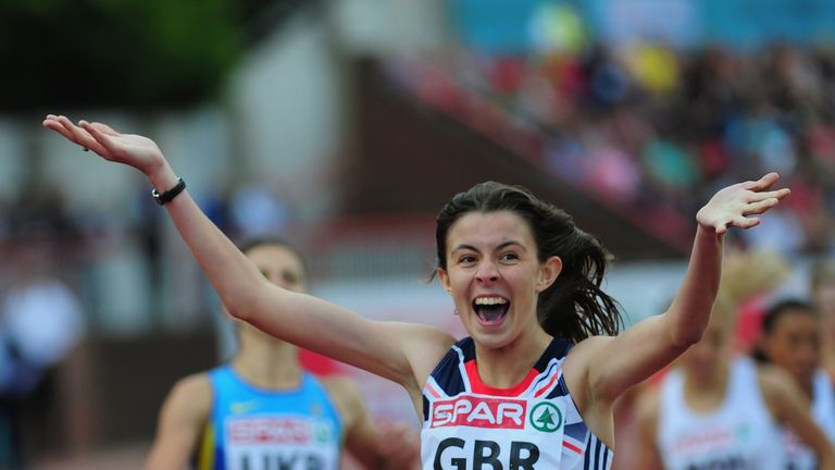 Jessica Judd of Great Britain celebrates after winning the Womens 800 metres during day one of the European Athletics Team Championships at Gateshead International Stadium on June 22, 2013.