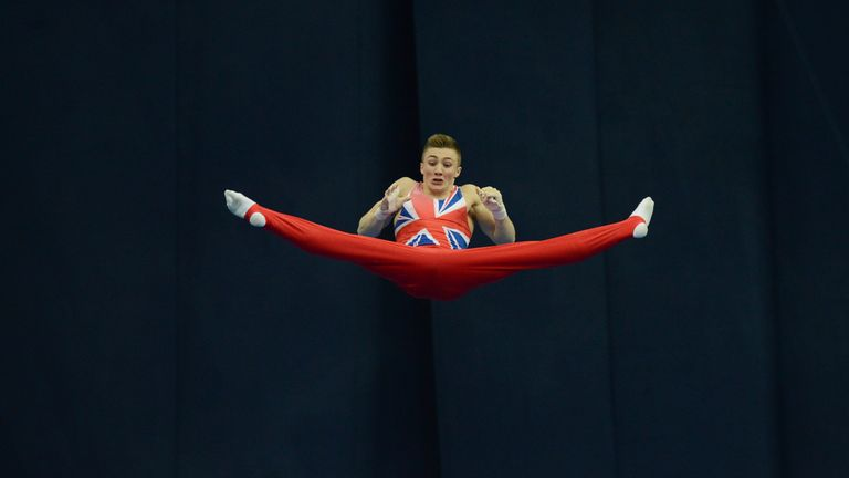 Great Britain's Sam Oldham competes on the horizontal bar in the men's apparatus artistic gymnastics finals during the 5th European Men and Women Artistic Gymnastic Individual Championships in Moscow on April 21, 2013.