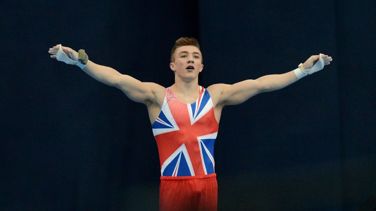 Great Britain's Sam Oldham reacts after competing on the horizontal bar in the men's apparatus artistic gymnastics finals during the 5th European Men and Women Artistic Gymnastic Individual Championships in Moscow on April 21, 2013. Russia's Emin Gabirov took the first place ahead of Oldham, second, and Belarus' Aliaksandr Tsarevich, third.