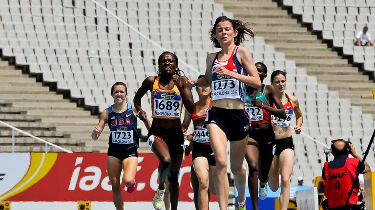 Jessica Judd of Great Britain wins her women's 800 metres Semi-final on the day two of the 14th IAAF World Junior Championships at Estadi Olimpic Lluis Companys on July 11, 2012 in Barcelona, Spain.