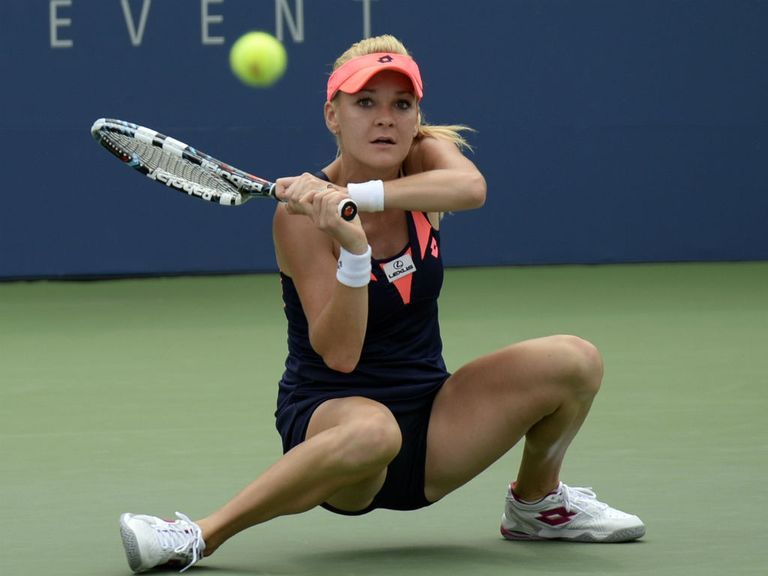 Agnieszka Radwanska shows her flexibility during her victory