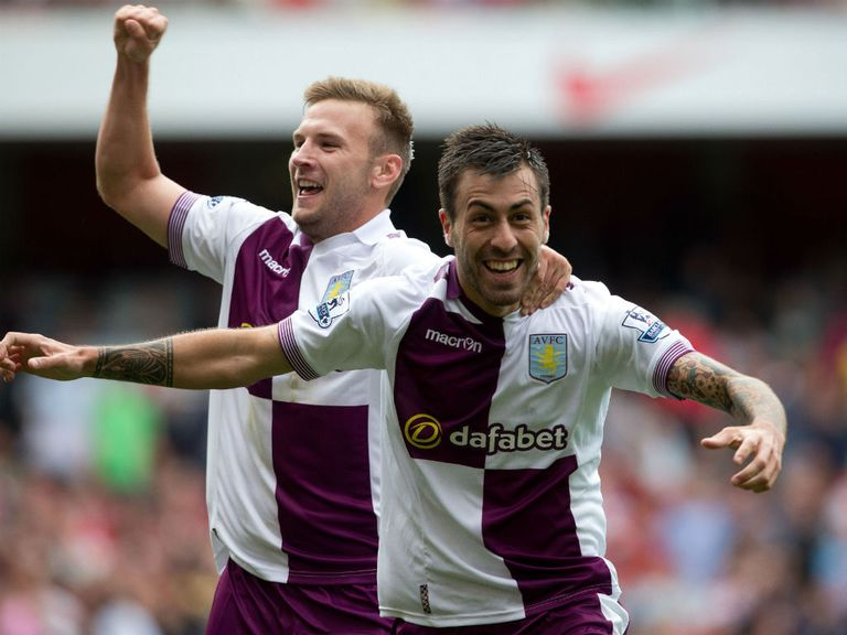 Aston Villa celebrate their shock win