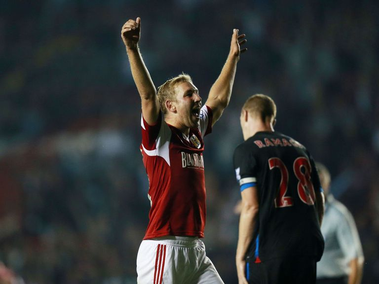 Scott Wagstaff celebrates his goal for Bristol City