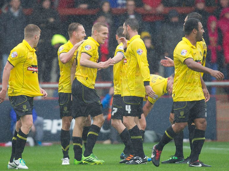 Burton celebrate during their win over Fleetwood