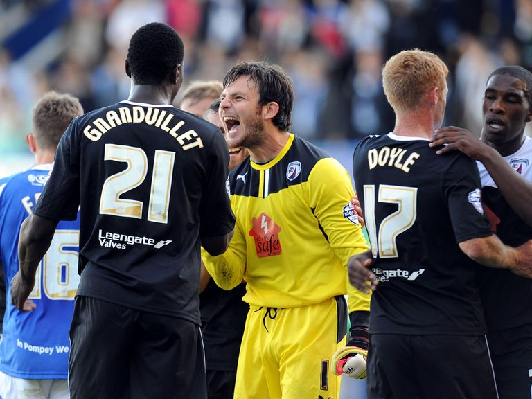 Chesterfield celebrate moving top of the table.