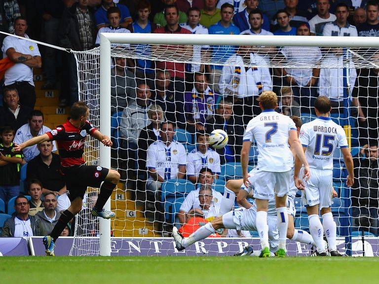 Clint Hill scores QPR's winner at Leeds.