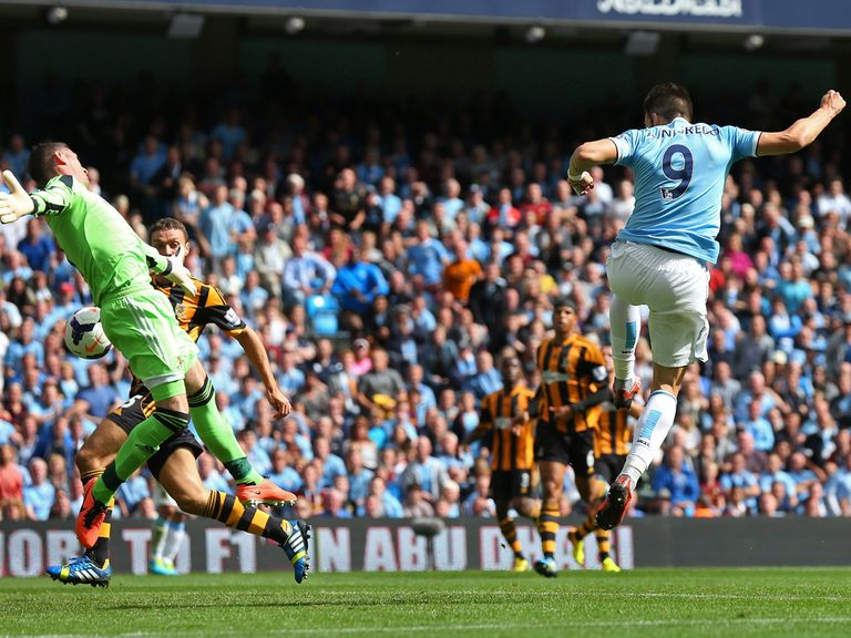 Alvaro Negredo scores against Hull.