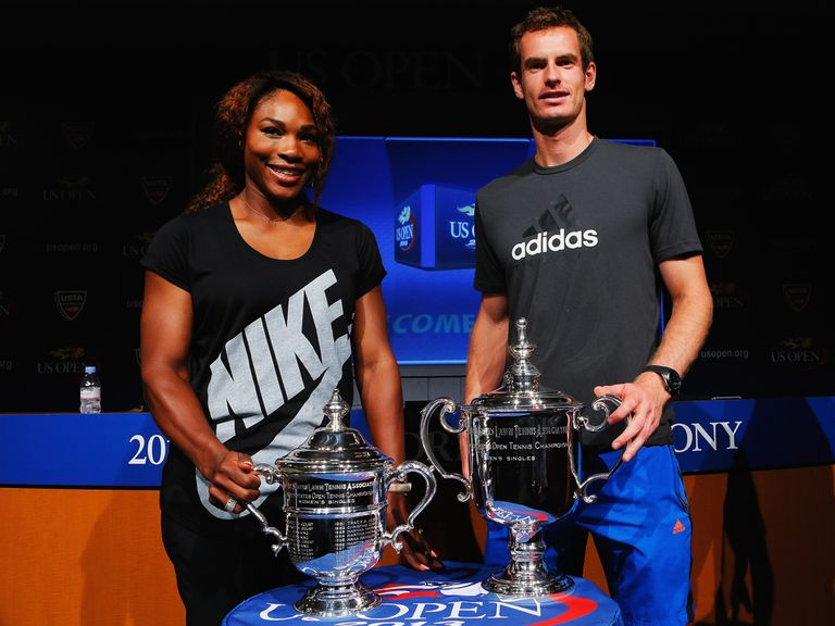 Defending US Open champions Williams and Murray at the draw ceremony