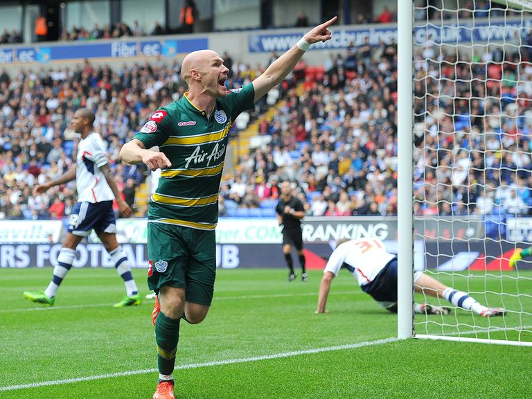 Andrew Johnson celebrates his winner for QPR at Bolton.