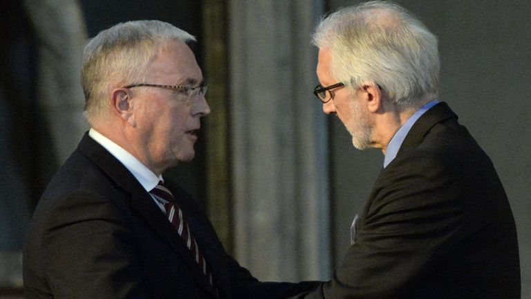 Brian Cookson, right, defeated Pat McQuaid in the UCI presidential election
