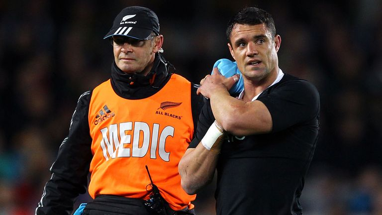 Dan Carter trudges off just 15 minutes into the game at Eden Park