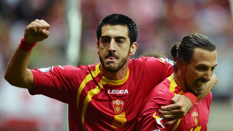 Dejan Damjanovic and Milos Krkotic: Celebrate Montenegro's opener