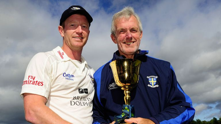 Geoff Cook and Paul Collingwood pose with the County Championship trophy