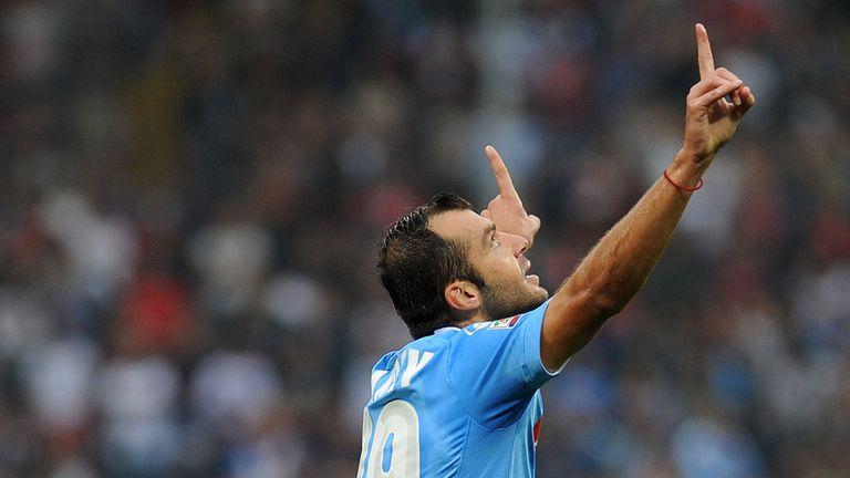 Goran Pandev of Napoli celebrates