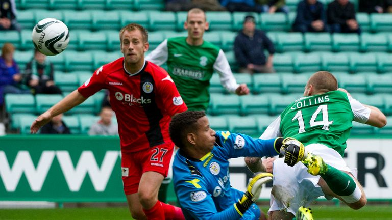 James Collins: Nods Hibernian ahead against St Mirren