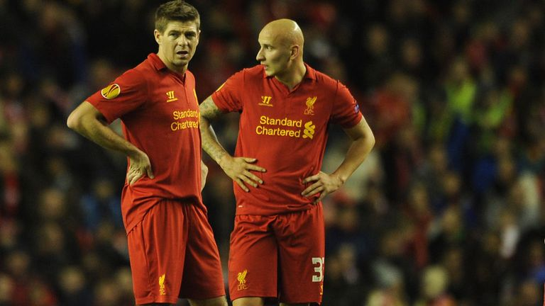 Jonjo Shelvey (r) with Steven Gerrard at Anfield last season