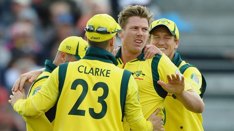 James Faulkner: Celebrates the wicket of Joe Root in Australia's 88-run win