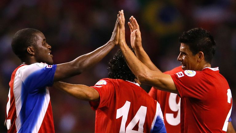 Joel Campbell and Johnny Acosta: Celebrate Costa Rica's win