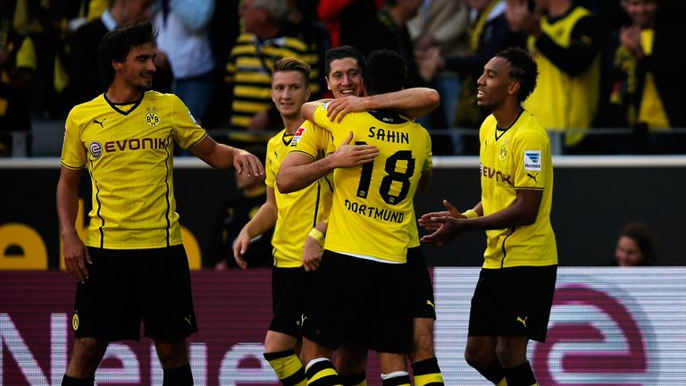 Robert Lewandowski: Celebrates goal with Dortmund team-mates