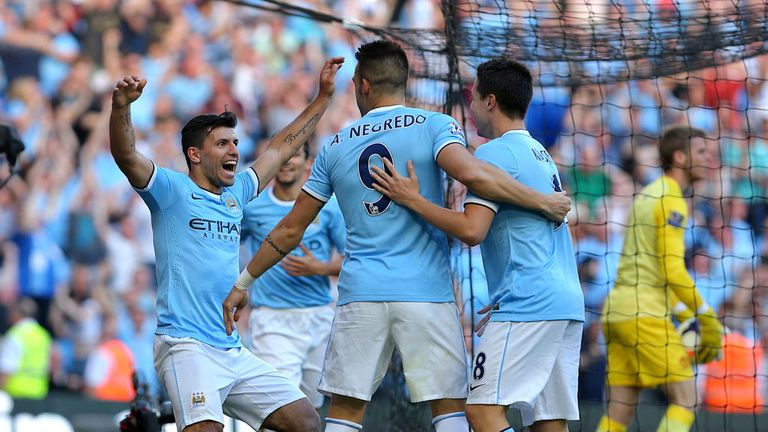 Sergio Aguero: Celebrates his second goal for Manchester City