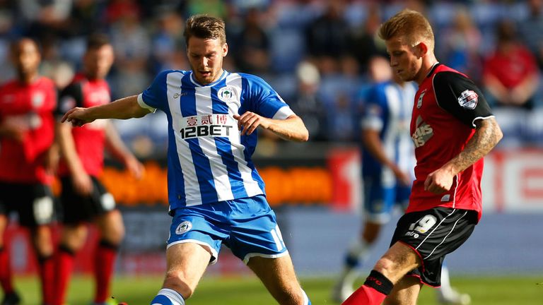 Nick Powell (l): In action for Wigan