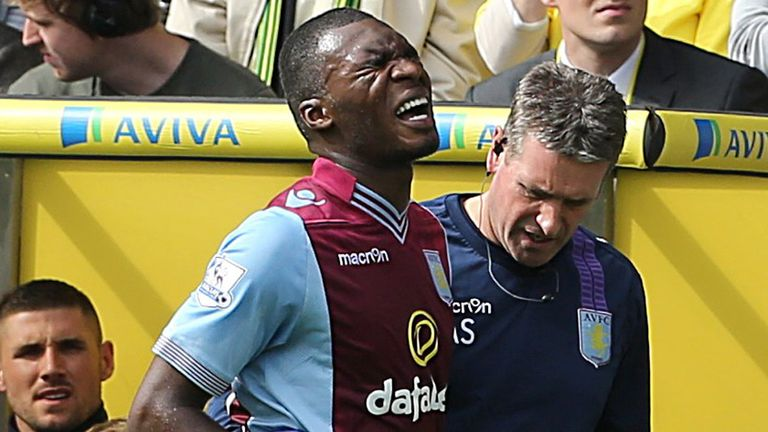 Christian Benteke: Aston Villa striker was forced off at Carrow Road with a hip injury