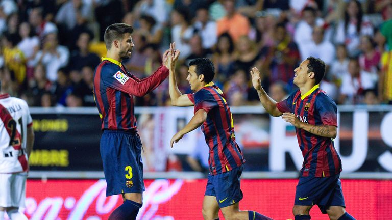 Pedro: Celebrates one of his goals against Rayo Vallecano