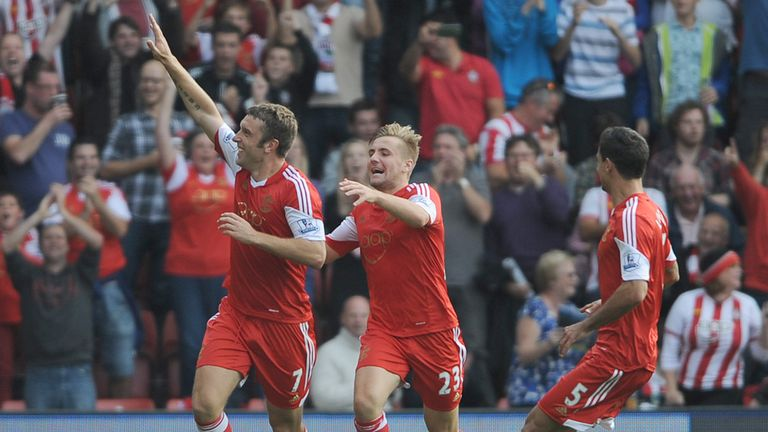 Rickie Lambert: Southampton striker celebrates his goal against Crystal Palace earlier in the campaign