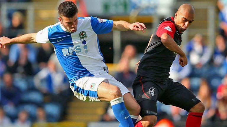 James Vaughan (R) drew a blank against Grant Hanley and Blackburn
