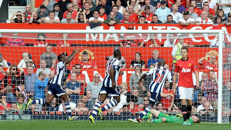 West Brom celebrate after Saido Berahino scores at Old Trafford