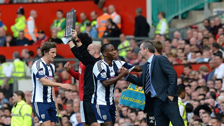 Steve Clarke congratulates Saido Berahino after his Old Trafford strike