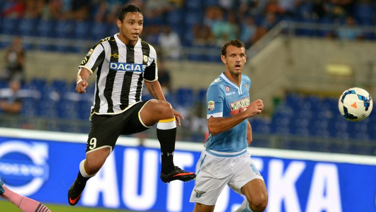 Rewarded: Luis Muriel has been given a five-year extension to his Udinese contract