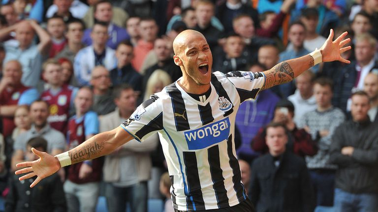 Yoan Gouffran: Celebrates Newcastle's winner at Villa Park