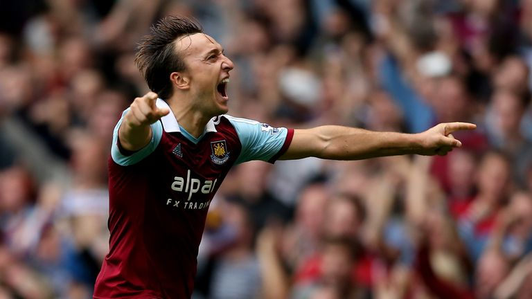 Mark Noble: Celebrates his goal for West Ham against Everton