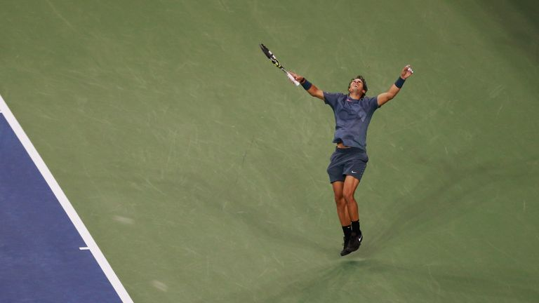 Rafael Nadal celebrates winning the US Open