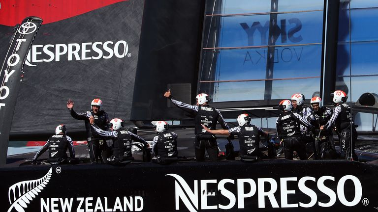 Emirates Team New Zealand celebrate their victory in Race 10 of the America's Cup