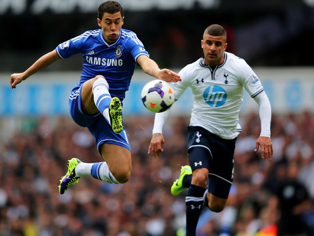 Eden Hazard takes on Kyle Walker