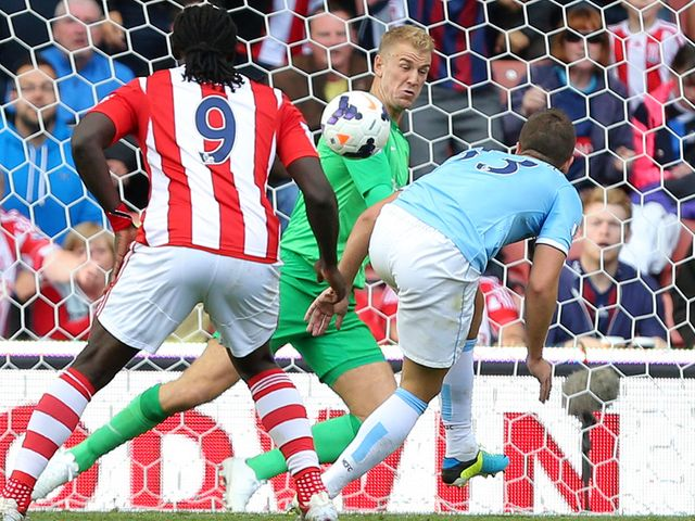Joe Hart pulls off a save to deny Stoke a goal