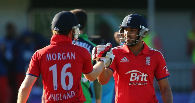 Ravi Bopara is congratulated on his first ODI hundred in Dublin