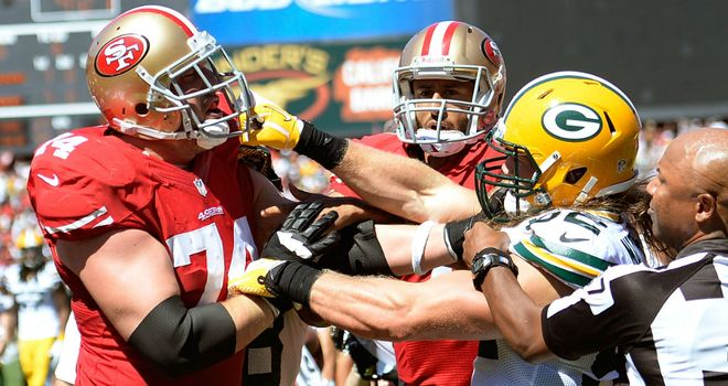 Green Bay and San Francisco get stuck into each other