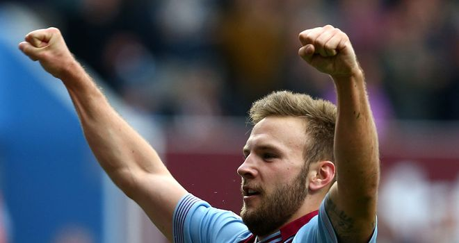Andreas Weimann celebrates scoring the winner for Aston Villa